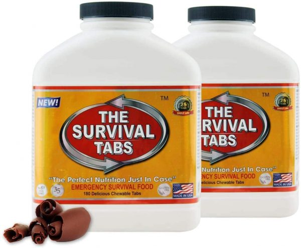 Survival Tabs - 30 Day Survival Food Supply - Gluten Free and Non-GMO 25 Years Shelf Life (2 x 180 tabs/Bottle - Chocolate)